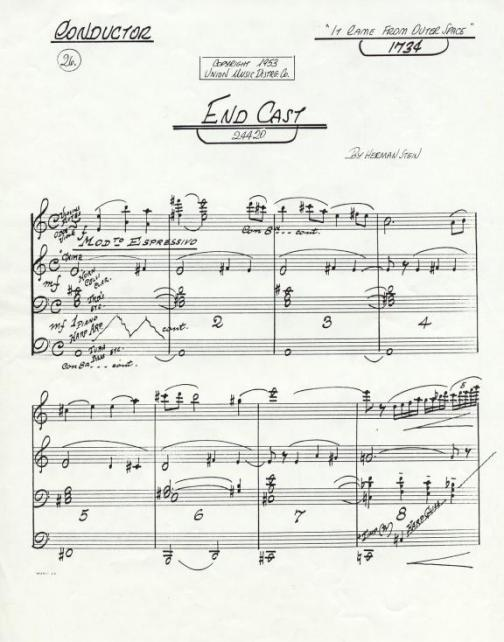 End Cast conductor's score